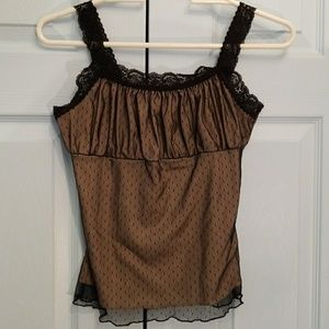 Black and tan lace lined 2 layer mesh tank top